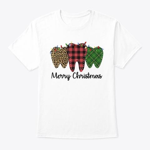 Teeth Plaid Merry Christmas Shirt White T-Shirt Front