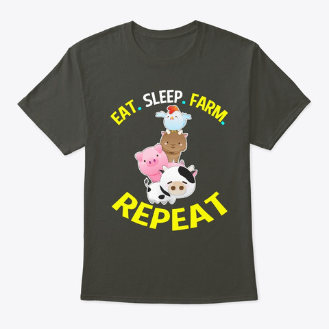 Eat Sleep Farm Repeat Farmers Gifts Smoke Gray T-Shirt Front