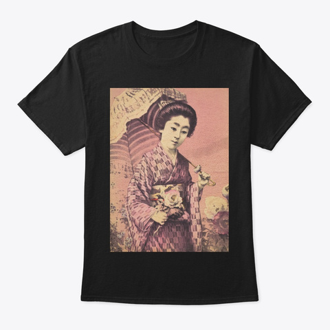 Woman With Flower   Japan  Black T-Shirt Front