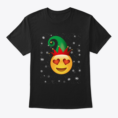 Merry Smiling Face With Heart Eyes Chris Black T-Shirt Front