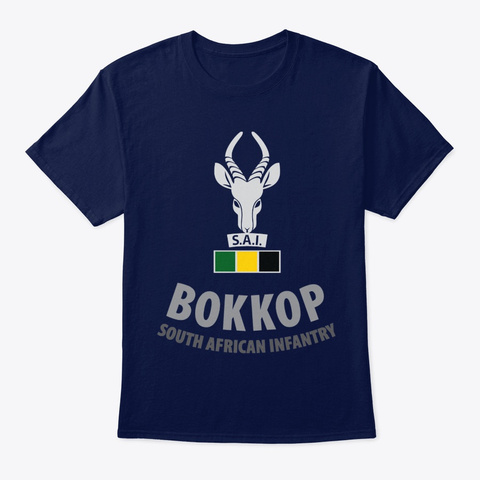 Veteran Bokkop South African Infantry Navy T-Shirt Front