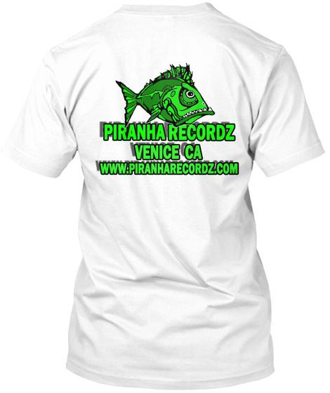 Piranha Recordz White T-Shirt Back