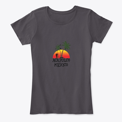 Acapulco Mexico Sunset Heathered Charcoal  T-Shirt Front