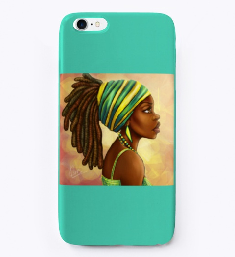 African Cartoon Phone Case Aqua T-Shirt Front