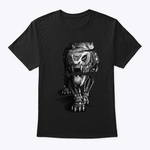 Mechanical Tiger Endoskeleton Gift Black T-Shirt Front