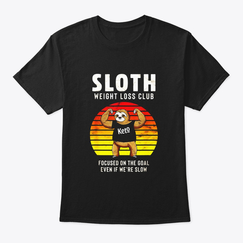 Funny Vintage Weight Loss Sloth Lover Black T-Shirt Front