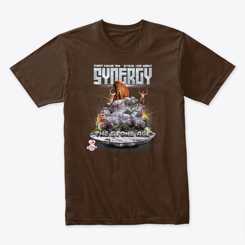Synergy 'the Stone Age' Love Mobile 2019 Dark Chocolate T-Shirt Front