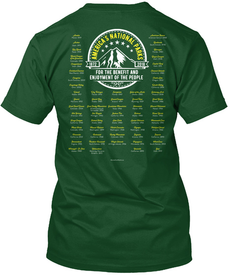 America's 60 National Parks   2 Sided Deep Forest T-Shirt Back