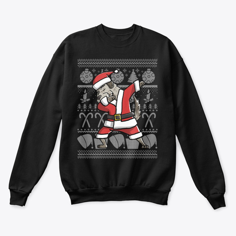 Dabbing Irish Wolfhound Ugly Christmas Black T-Shirt Front