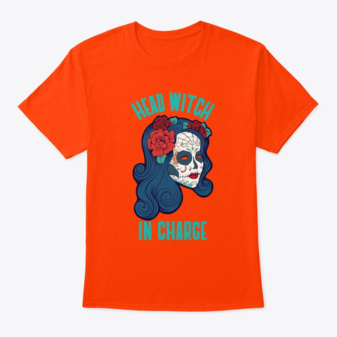Sugar Skull Head Witch In Charge Orange T-Shirt Front