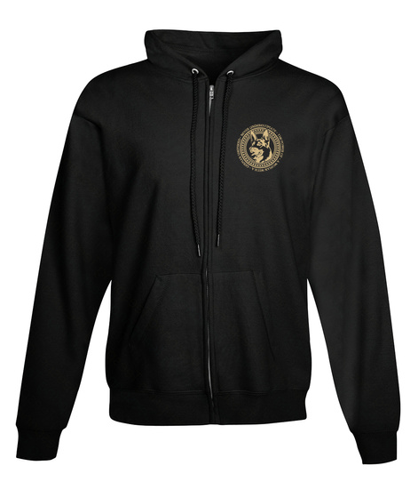 Woman With Gsd   Full Zip Hoodie Black T-Shirt Front