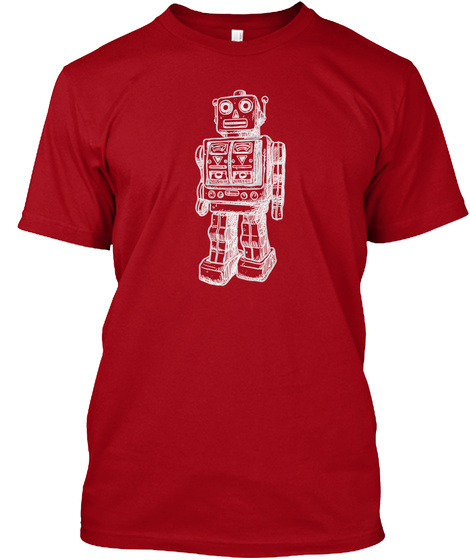 Hanes Tshirt Huge Robot T Shirt Deep Red T-Shirt Front