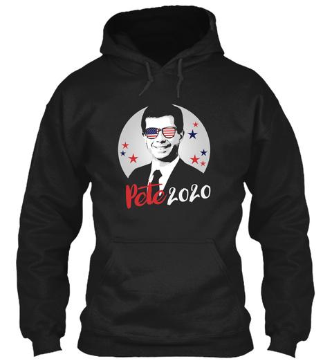Pete 2020 Sticker Black T-Shirt Front