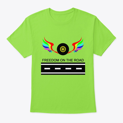 Freedom On The Road Lime T-Shirt Front
