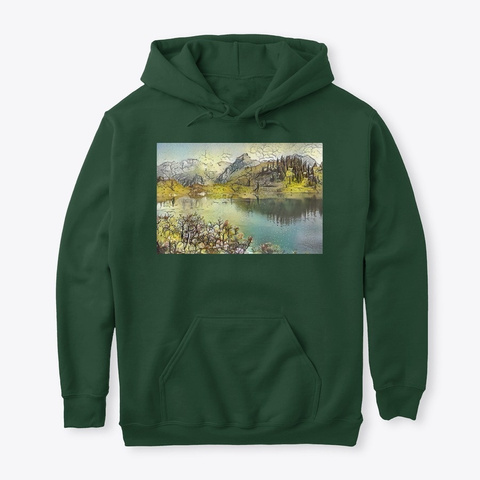 Watercolor Landscape Forest Green T-Shirt Front