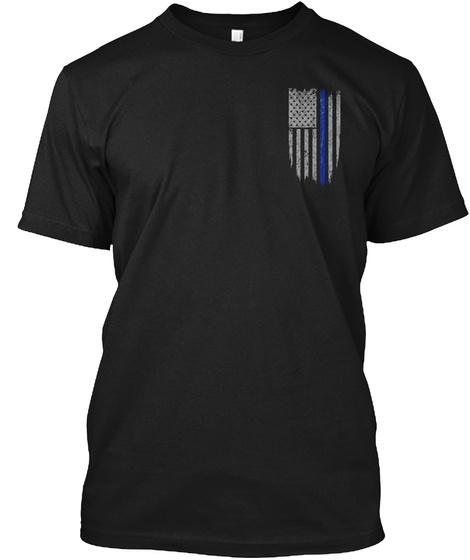 Thin Blue Line Flag Black T-Shirt Front