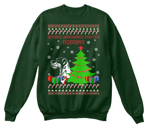 German Wirehaired Pointer Ugly Christmas Deep Forest  T-Shirt Front