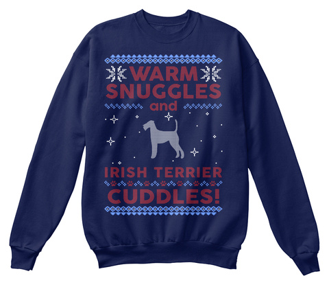 Irish Terrier Ugly Christmas Sweater. Navy  T-Shirt Front