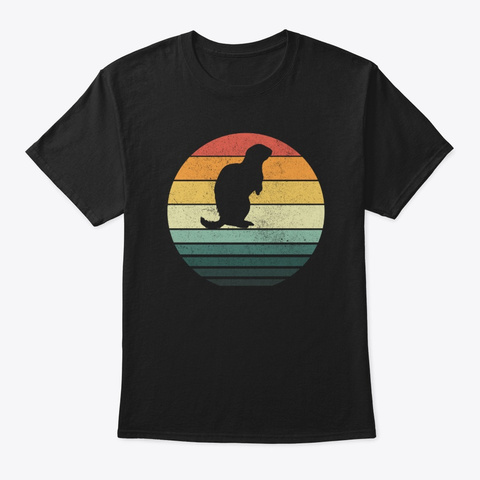 Groundhog Sunset Retro Vintage 70s Black T-Shirt Front