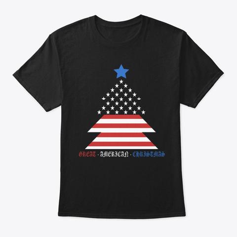 Great American Christmas Patriotic Black T-Shirt Front