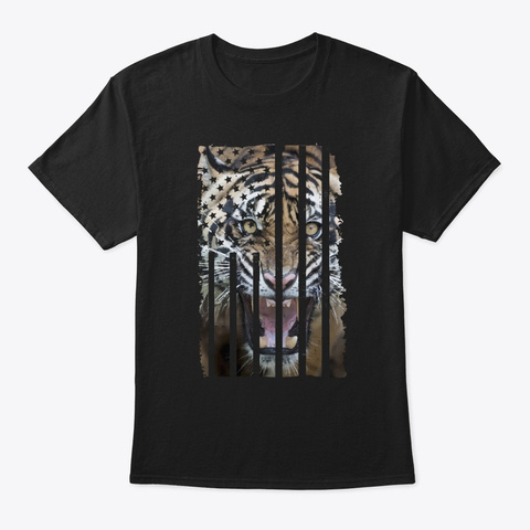 Tiger Picture Shirt Us Flag Gift Black T-Shirt Front