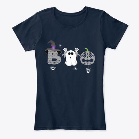 Boo Brain Cancer Awareness Halloween New Navy T-Shirt Front