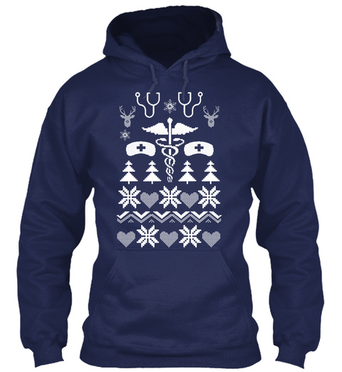 Nurse Ugly Hoodies  Navy T-Shirt Front