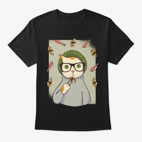 Hipster Cat For Sushi Lover Black T-Shirt Front
