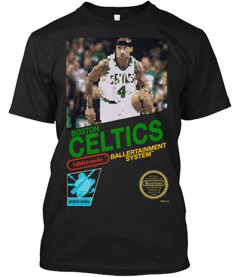 Classic Video Game Boston Bball Black T-Shirt Front