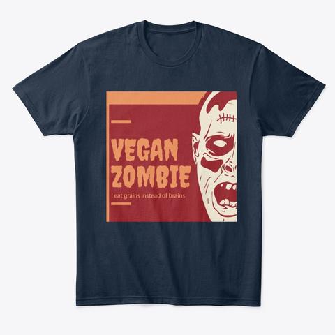 Vegan Zombie New Navy T-Shirt Front