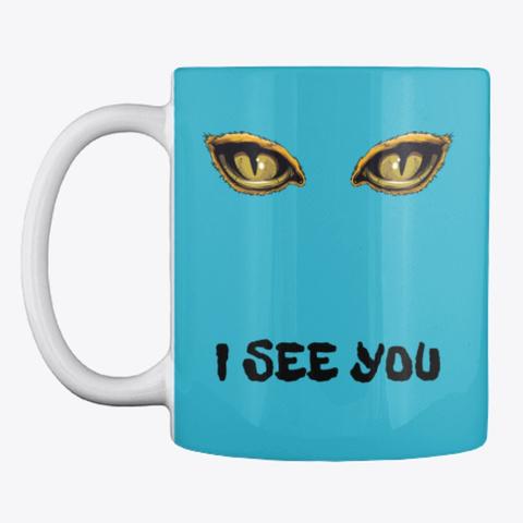 Funny Creepy Halloween Mug Coffee Cups Turquoise T-Shirt Front