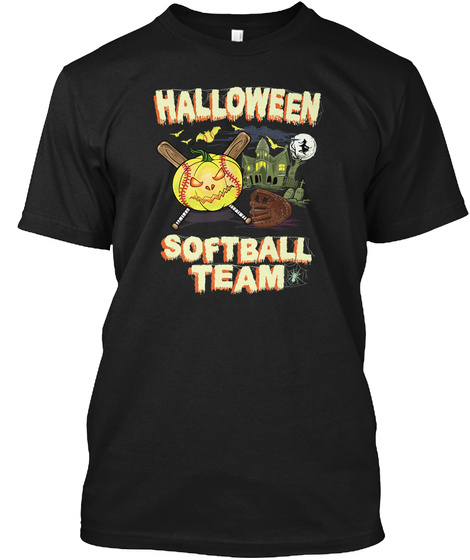 Softball Halloween Mug Black T-Shirt Front