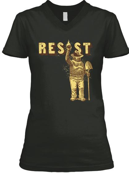 Smokey Bear Says Resist T Shirt Black T-Shirt Front