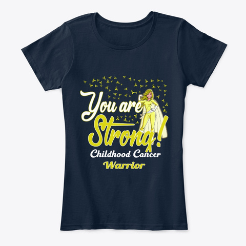 Strong Childhood Cancer Warrior New Navy T-Shirt Front