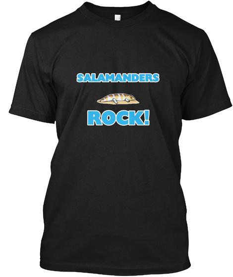 Salamanders Rock! Black T-Shirt Front