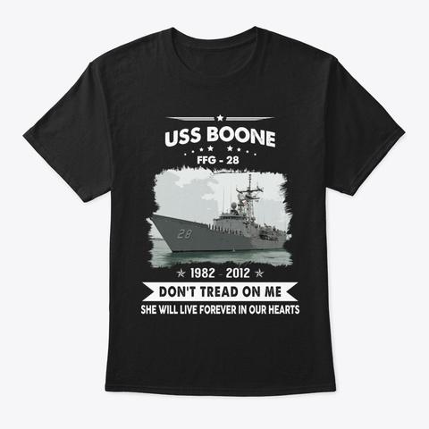 Uss Boone Ffg 28 Memories Black T-Shirt Front