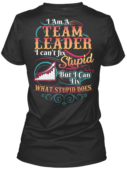 I Am A Team Leader I Can't Fix Stupid But I Can Fix What Stupid Does Black T-Shirt Back