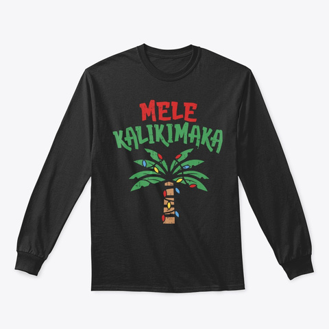 Mele Kalikimaka Palm Tree Shirt Hawaiian Black T-Shirt Front