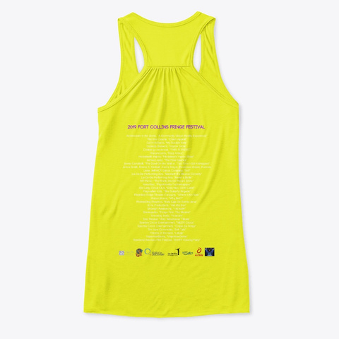 2019 Fo Co Fringe Fest Swag Neon Yellow T-Shirt Back
