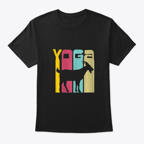 Vintage Goat Yoga Figurines Shirt For G  Black T-Shirt Front