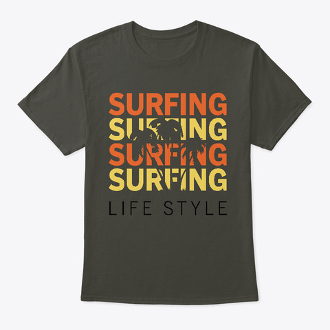 Palm Tree Surfing Life Style Smoke Gray T-Shirt Front