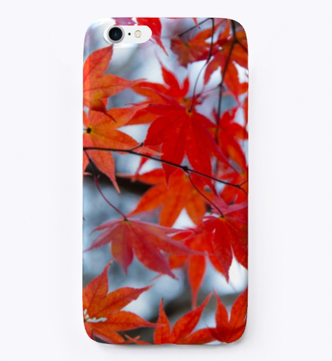 Autumn Red Leaves | Phone Case Black T-Shirt Front