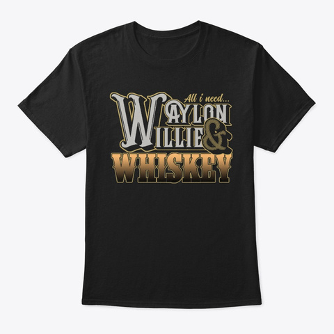 Waylon, W Illie & Whiskey Black T-Shirt Front