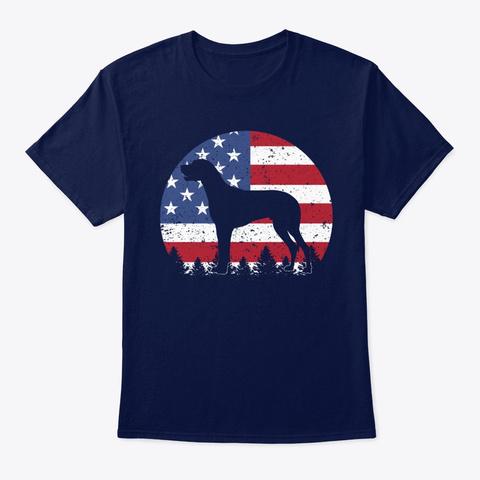 Great Dane Dog American Flag Navy T-Shirt Front