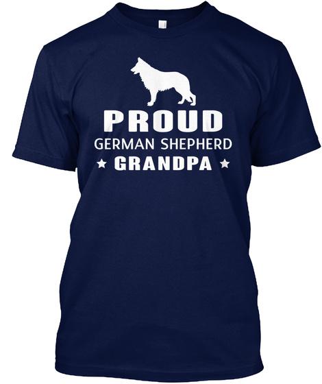 Proud German Shepherd Grandpa Navy T-Shirt Front