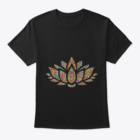 Lotus Flower Yoga Meditation Om Namaste  Black T-Shirt Front