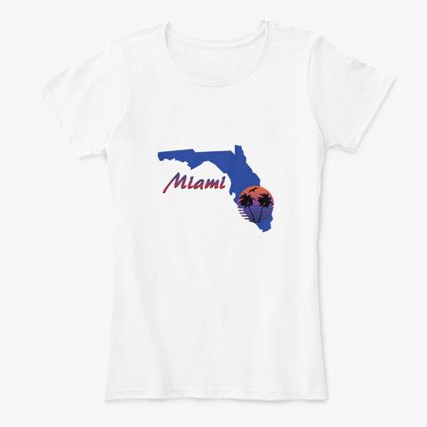 Miami Beach Florida White T-Shirt Front