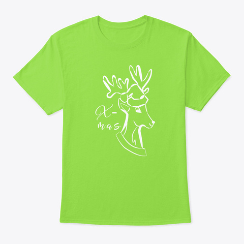 Christmas Gift Deer Moose Lime T-Shirt Front