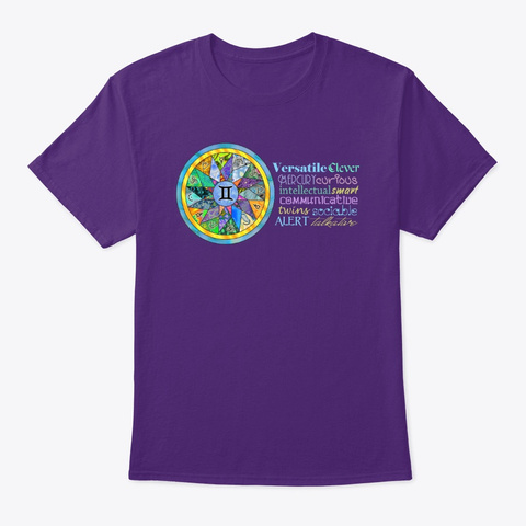 Gemini Astrology Mandala Shirt Purple T-Shirt Front