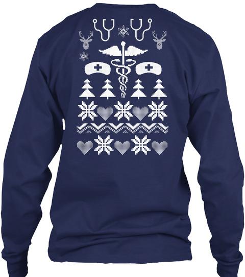 Nurse Ugly Sweater Navy T-Shirt Back